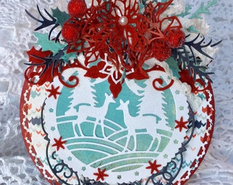 Carte en forme De boule de Noel , Inspiration scandinave