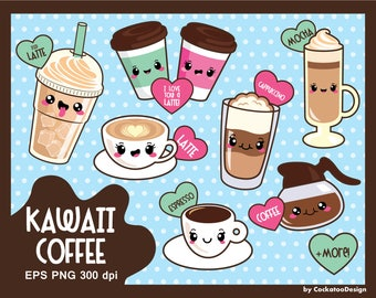 30% OFF, Coffee clipart, kawaii coffee clipart, cute coffee clipart, kawaii coffee clip art, coffee clip art, food clipart, Сommercial use