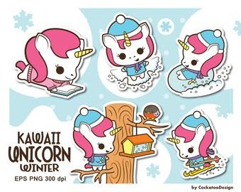 30% OFF, Unicorn clipart, kawaii unicorn clipart, cute unicorn clipart, unicorn snow clipart, unicorn winter clipart, Commercial Use