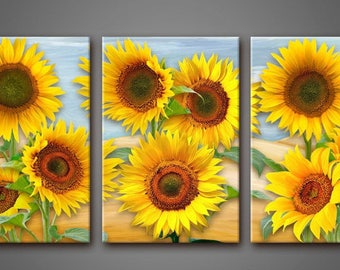 Wall decor 3 Panel Canvas  Photo Print on Canvas Field with beautiful flowers canvas art Interior design Room Decoration Photo gift