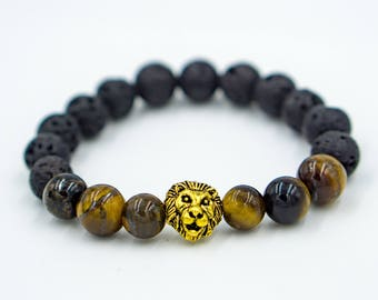 Cat Eye/Lava Rock Lion Bracelet