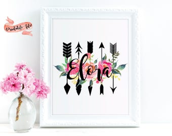 Arrows and Flowers Custom Name Download File for Printing, Watercolor Flowers, Nursery Decor, Little Girl Bedroom, Wall Decor