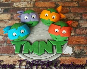 Edible TMMT 10cm Cake Topper! Teenage Mutant Ninja Turtles on Sewer lid!