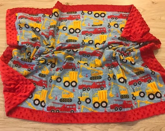 Personalized Dump Truck/Fire Truck/Tractor Boys Minky Blanket- red, constuction, tonka trucks, stroller blanket, blue, yellow