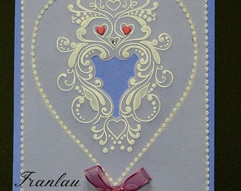 "Card ""Hearts and scrolls"" Pergamano paper lace"