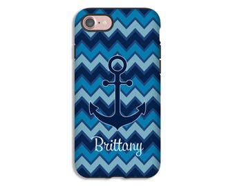 Personalized iPhone 7 case, anchor iPhone 7 Plus case, chevron iPhone 6s case, nautical iPhone 6s Plus case, iPhone 6 case, Galaxy S8 case