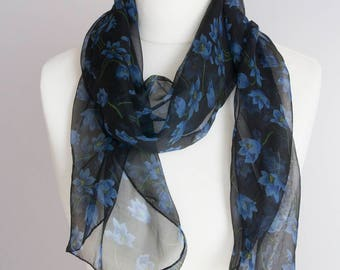 "vintage long scarf, retro rectangle scarf, polyester scarf, fabric women scarf shawl 33x158cm / 13x62"" sheer scarf floral black blue"