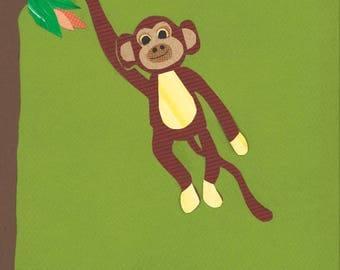 ORIGINAL ARTWORK, Monkey Nursery, Jungle Nursery, Gift for baby girl, baby room, green nursery art, monkey art, kids decor, safari wall art