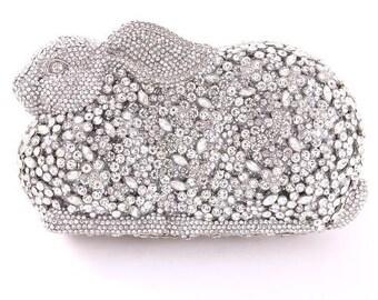 Crystal-Embellished Rabbit Clutch Bag