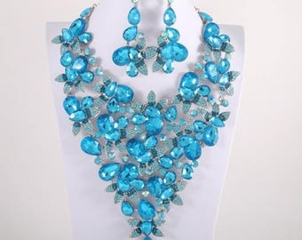 Aqua Crystal Marquise Flower Necklace