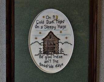 Finished Cross Stitch Good Old Days Framed