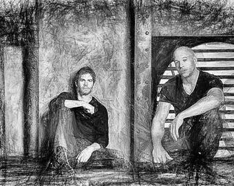 Paul Walker Vin Diesel ,Art,Abstract,Drawing,Geschenk,Unikat,Geburtstag,Home,Portrait,Deko,Architekt,Raumplaner,Leinwand,Wohnung,Wand Deko
