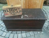 NOW SOLD!!  Antique pine  tool chest with a soap connection and two drawers inside.