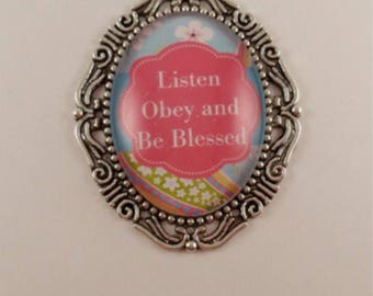 """JW magnetic brooch, """"Listen, Obey and Be Blessed"""", Jw gifts, jw items, jw accessories, pioneer gift."""