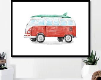 Watercolor VW Print // Minimalist // Wall Art // Typography // Fashion // Scandinavian // Boho // Modern Office