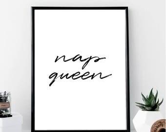Nap Queen Print // Minimalist // Art // Typography // Fashion // Scandinavian Poster // Boho // Modern Office