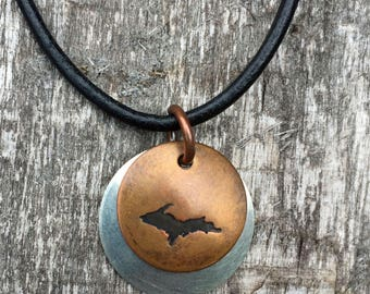 Upper Peninsula Copper Stamped pendant