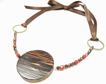 BURNT ORANGE DARJEELING - Palm Wood with Orange and Bronze Faceted Glass Beads Ribbon Tie Choker Necklace
