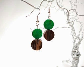 Green Shell and Palm Wood Earrings