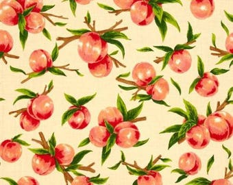 "Peach Fabric, Fruit Fabric: Fabri-Quilt Fresh Harvest Peaches Multi 100% cotton Fabric by the yard 36""x43"" (K230)"