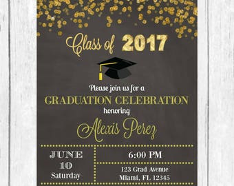 Graduation Invitation, Gold Glitter Graduation Invite, Grad Invite, Class of 2017, Gold Glitter Invitation, Graduation Party, Printable