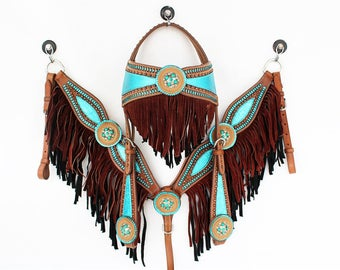 1 of 1 Handmade Turquoise Double Fringe Buck-stitch Leather Headstall Western Horse Trail Show Barrel Racer Racing Bridle Breast Collar Set