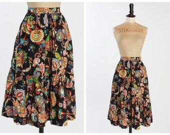 Vintage 1970s 70s Quad Patterned Midi Skirt UK8 US4