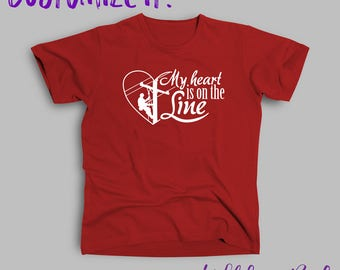"Lineman ""My Heart is on the Line"" Adult Tee Shirt"
