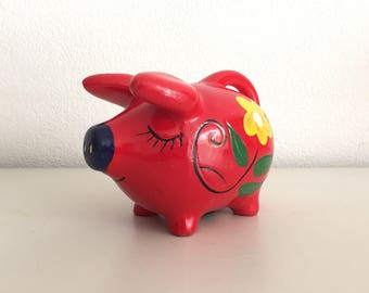 Retro spaarpot spaarvarken vintage funky seventies Flower Power piggy bank varken