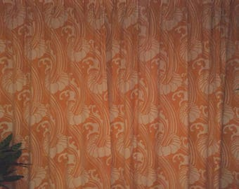 Psychedelic Retro curtain from the Seventies vintage curtain with space age design orange and white