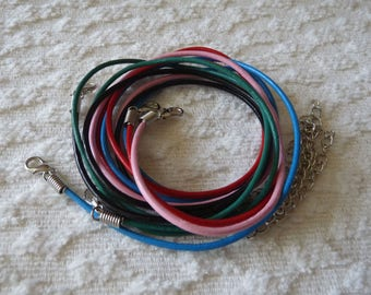 "Mixed Leather Necklace Cord, 2mm Round Genuine Leather Cord, 18.5"" Leather Cord Necklace, Finished Cord + Lobster Clasp  +2"" Extension Chain"