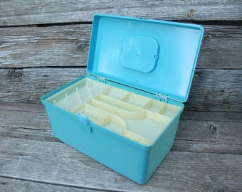 Turquoise Will-Hold sewing box, retro sewing box, Plastic Sewing Box, Vintage Sewing Box, Craft Sewing Box