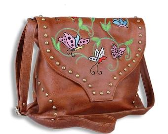Brown hobo bag women handbag leather bag embroidered bag handmade crossbody purse large bag small bag