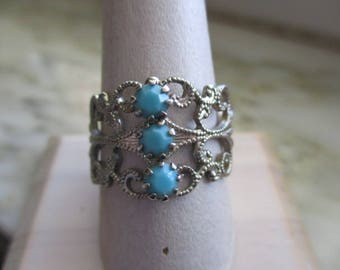Vintage Silver Tone & Faux Turquoise Ring