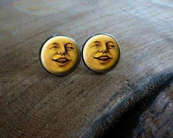 Boucles d'oreilles puces cabochon puce la lune qui me sourit Boucles d'oreilles lune rétro vintage, Boucles d'oreilles cabochon