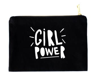 Girl power / cosmetic bag / makeup pouch / zipper pouch / black bag / typography bag / make up pouch / gift for her / gift for bestie
