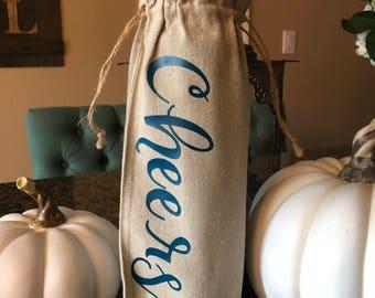 Wine bag|Custom wine bag| Hostess gift| Wine Cheers Canvas Bag| Cheers Gift| Celebration Gift|