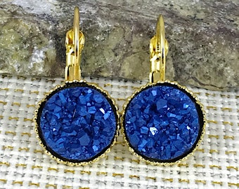 Arctic Blue Druzy Earrings - Druzy - Leverback Earrings - Blue Earrings - Druzy Jewelry - Bridesmaid Gift - Drop Earrings - Druzy Earrings -