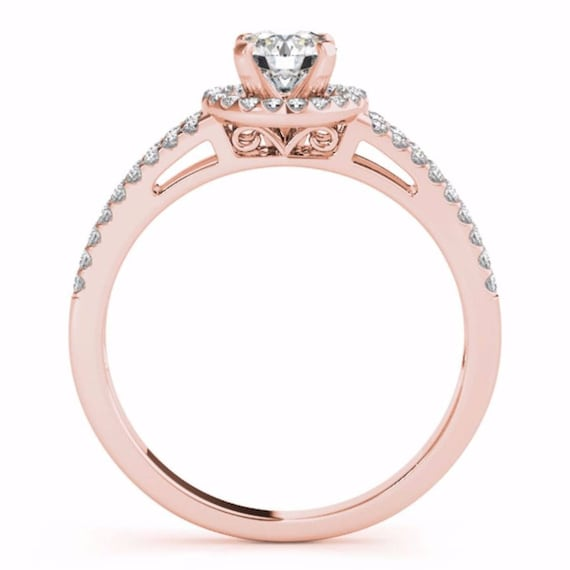 Engagement Ring ; 0.53 Ct Natural Diamond Engagement Ring , Solid 14K Rose Gold Ring Wedding Bridal Jewelry Size 7 Unique Ring