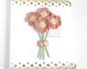Crochet flowers greeting card for Mother's day, Handmade scalloped card, Antique pink floral card, Birthday card, flowers lover card, Italy