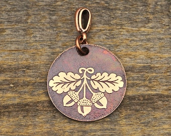 Oak leaves and acorns pendant, small round flat jewelry 25mm