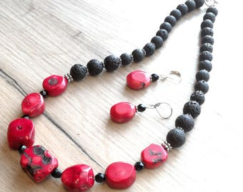 SET coral necklace coral earrings red coral necklace red&black jewelry