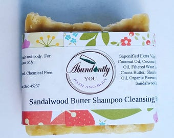 Sandalwood Butter Shampoo Cleansing Bar | Natural Shampoo Bar | Approximately 4.5 oz | Sulfate Free