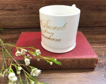 "Plum and Rose Soy Candle in a vintage Victorian Commemative Mug ""Welcome to Wrexham"""