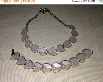 Anniversary Sale Vintage Thermoset Heart Necklace and Earrings