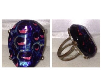 Anniversary Sale Vintage Glass Ring