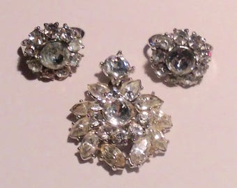 Vintage Crown Trifari Rhinestone Pendant and Earrings