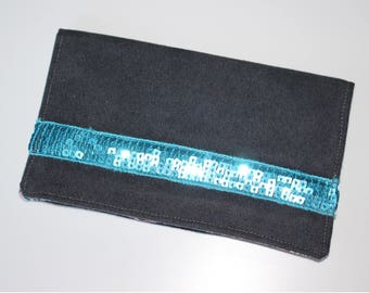 Door checkbook in gray and turquoise glitter band