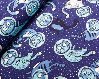 Space cats french terry knit fabric