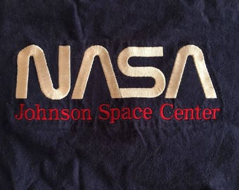Vintage NASA Johnson Space Station T Shirt Size XL Space Astronaut Embroidered